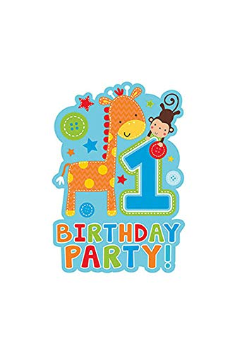 One Wild Boy Birthday Party Die‑Cut Postcard Invitations, Multi Colored, Paper, 4 1/6