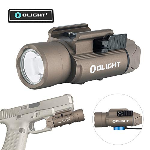 Tactical Rail Systems - OLIGHT PL-Pro Valkyrie 1500 Lumens Cree XHP 35 HI NW Rechargeable Weaponlight Rail Mount Tactical Flashlight with Strobe (Desert Tan (FDE))