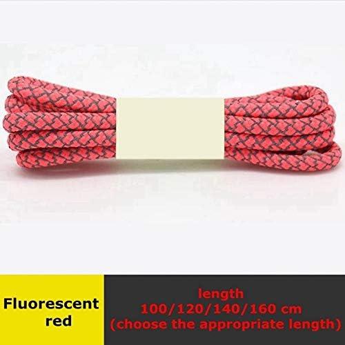 TMYQM ラウンドは、スニーカーの光沢のあるレース100/120/140/160 CMニュートラルレースダブルレースをひも (Color : Fluorescent red, Size : 120CM)