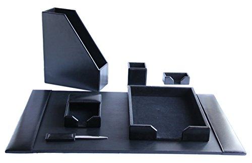 Negro hecho a mano de piel seis piezas juego de escritorio por Zale Yardley UK