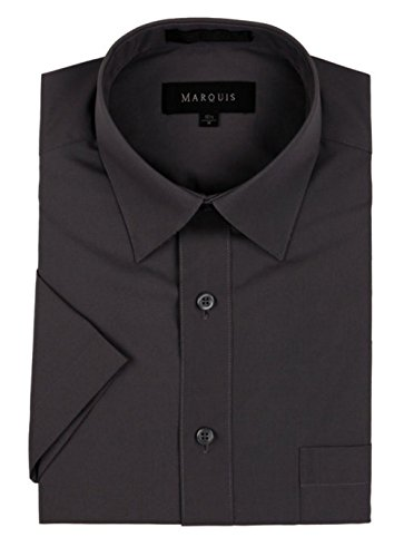 Marquis Men's Short Sleeve Dress Shirt - Charcoal, Large (16.5