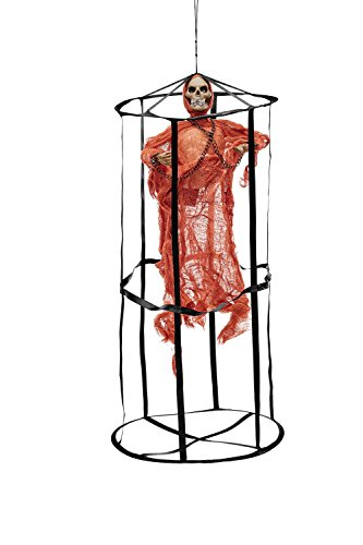 Animated Undead Ghost in Death Cage Skeleton Scary Halloween Party Decorations (Red, (Best Halloween Themed Movies)