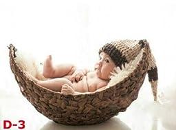 Newborn baby infant photography prop handmade woven basket D-3