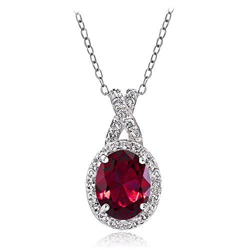 GemStar USA Sterling Silver Created Ruby & White Topaz X and Oval Pendant Necklace for Women Girls