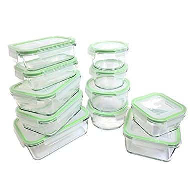 Kinetic 55043 22 Piece Glassworks Series Food Storage Container Set, Clear