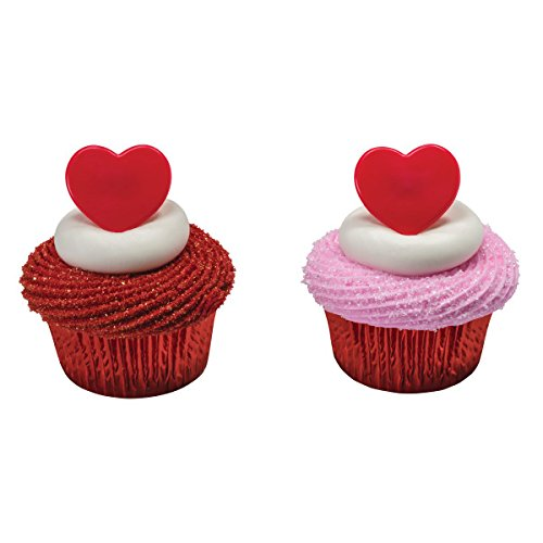 Red Heart Valentines Day Cupcake Topper Rings - Pack of 24