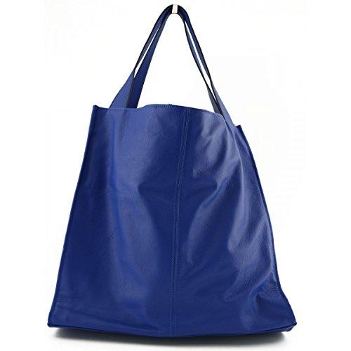 Bolso Shopper En Piel Verdadera Con Colgante En Piel Color Azul - Peleteria Echa En Italia - Bolso Mujer