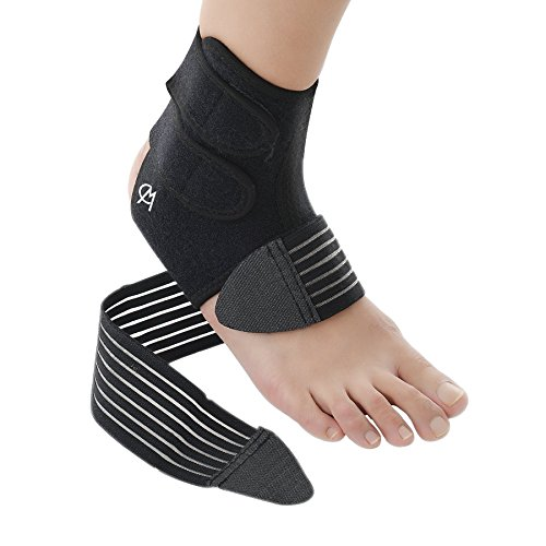 Slim Fit Ankle Support - CHICMODA Ankle Support, Adjustable Ankle Brace Guard Breathable for Running Basketball Exercise Fitness Ankle Men Women (Black)