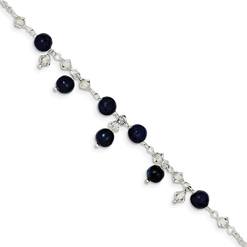 (925 Sterling Silver Shade Crystal/lapis Anklet Ankle Beach Chain Bracelet Fine Jewelry Gifts For Women For Her )