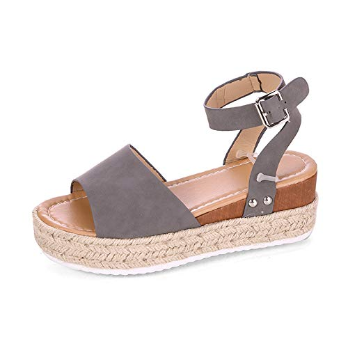 YYW Womens Platform Sandals Espadrilles Faux Leather Studded Wedge Sandals Ankle Strap Summer Open Toe Sandals (Grey,8 M US) ()
