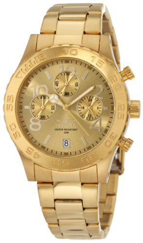 Invicta Women's 1279 II Collection Chronograph Gold Dial 18k Gold Toned Stainless Steel Watch