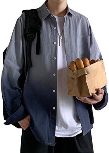 [MLboss]シャツ メンズ 長袖 カジュアルシャツ ゆったり ワイシャツ バイカラー ファッション ポロネック トップス グラデーション おしゃれ メンズシャツ