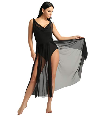 - ACSUSS Women Adult Sleeveless Illusion V-Neck Mesh Split Flowy Skirt Mesh Lyrical Dance Dress Black Medium