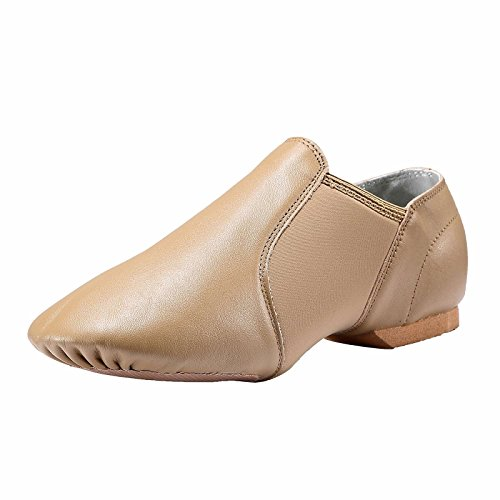 Dynadans-Womens-Leather-Upper-Slip-on-Jazz-Shoe-Brown-8M