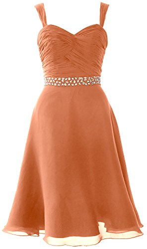 MACloth Elegant Straps Chiffon Cocktail Dress Short Wedding Party Formal Gown Coral