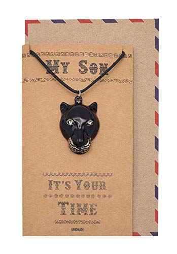 Quan Jewelry Black Panther Inspired Necklace, Gifts for Granddaughter with Inspirational Quote on Greeting Card