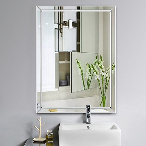 NeuType Large Framed Wall Mirror Rectangle Frameless Beveled Mirror Hangs Vertically, Perfect for Bedroom/Bathroom (28 x 20 ()