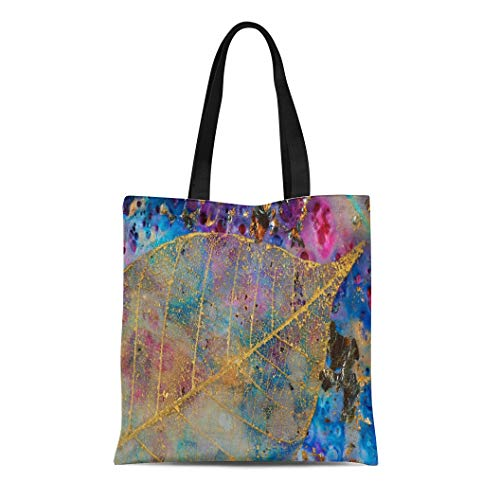 Semtomn Canvas Tote Bag Shoulder Bags Blue Branching Gold Leaf Filigree Encaustic and Mixed Media Women's Handle Shoulder Tote Shopper Handbag