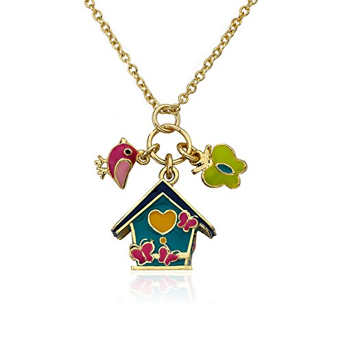 Little Miss Twin Stars Faye by LMTS 14K Gold Plated Aqua Enamel Birdhouse Necklace Accented With Enamel Butterfly And Bird Charms Brass 15