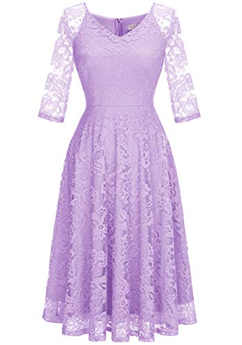Dressystar Long-Sleeve A-Line Lace Bridesmaid Dress Midi for Wedding Formal Party XS Lavender