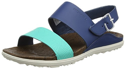 Merrell Women's Around Town Backstrap Print Athletic Sandal, Poseidon, 10 M US by Merrell