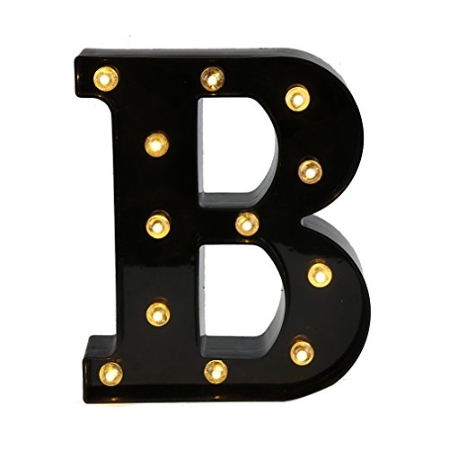 Lamp Alphabet (DELICORE Light Up LED Letter Marquee Sign - Alphabet Marquee Letters with Lights For Wedding Birthday Party Christmas Night Light Lamp Home Bar Decoration B, Black)