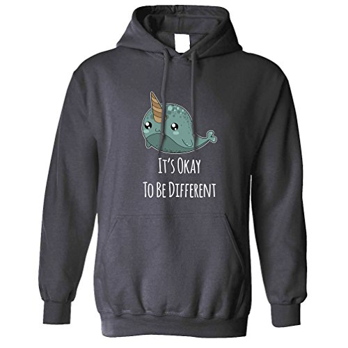 Tim And Ted Cute Narwhal Unisex Hoodie It's Okay to Be Different Slogan Charcoal S