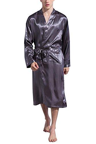 Dolamen Men's Dressing Gown Bathrobe Kimono Satin Long Nightwear (X-Large, (Dressing Gown Men)