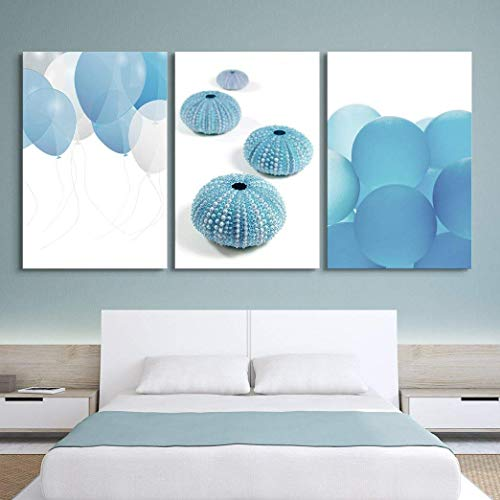 Blue Sea Panel 8371 (3 Panel Canvas Wall Art Poster Art Pictures Print Painting - Blue Balloons and Sea Urchins - Giclee Print Gallery Wrap Modern Home Decor Stretched and Framed Ready to Hang - 16