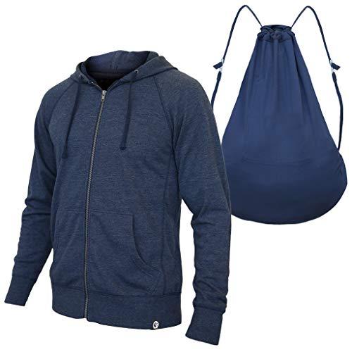 Quikflip Hero Hoodie (Convertible Full-Zip Hoodie Backpack) Heather Navy, 4XL