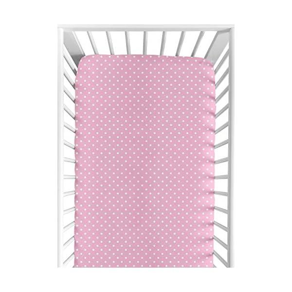 Sweet Jojo Designs Fitted Crib Sheet for Skylar Baby/Toddler Bedding – Pink Polka Dot