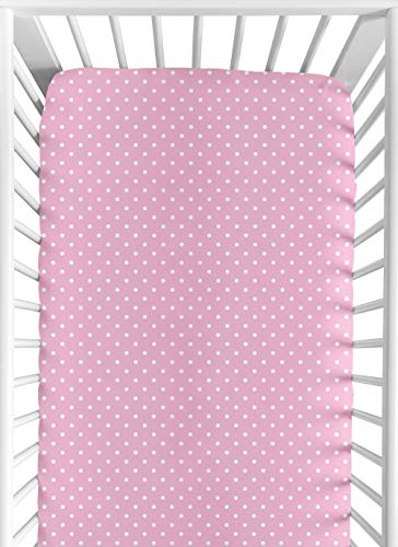 Sweet Jojo Designs Fitted Crib Sheet for Skylar Baby/Toddler Bedding - Pink Polka Dot
