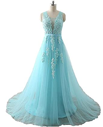 AngelaLove Cheap Long Beads Prom Dresses V Neck Tulle Lace Appliques With Pearls Formal Evening Party