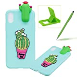 TPU Case for iPhone XS Max,Soft Rubber Cover for iPhone XS Max,Herzzer Ultra Slim Stylish 3D Cute Cactus Series Design Scratch Resistant Shock Absorbing Flexible Silicone Back Case