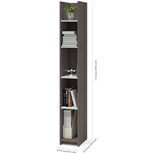 Bestar Small Space 10'' Storage Tower in Bark Gray and White