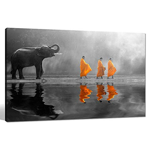 sechars - Elephant Wall Art,Human at Peace with Nature,Monk in Yellow Frock Alms Round Zen Painting Pictures for Home Wall Decoration,Framed Canvas Artwork Ready to -