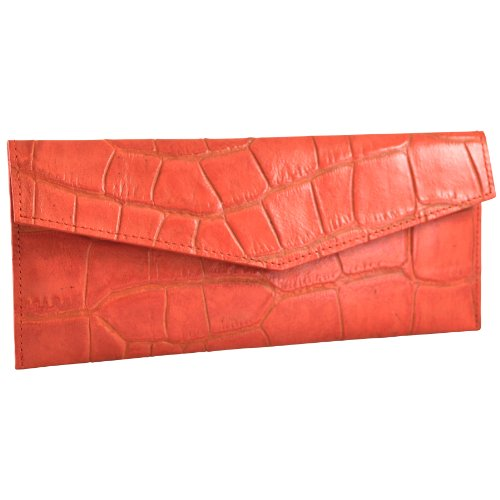 Envelope Croco - Italian leather Slim Envelope wallet by ALICIA KLEIN SPRING CLEARANCE SALE !! SAVE 65% while they last! - CAYENNE