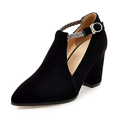 MEOTINA Women's T-Strap High Heels Pumps Pointed Toe Mary Jane Dress Shoes (US 10 =CN42 =Foot Length 26 cm, Black) ()