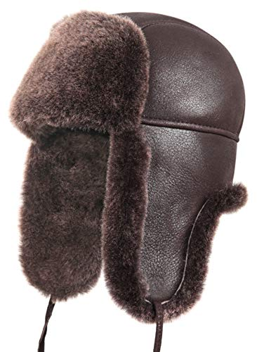 36899579265 Zavelio Unisex Shearling Sheepskin Leather Aviator Russian Ushanka Trapper Winter  Fur Hat
