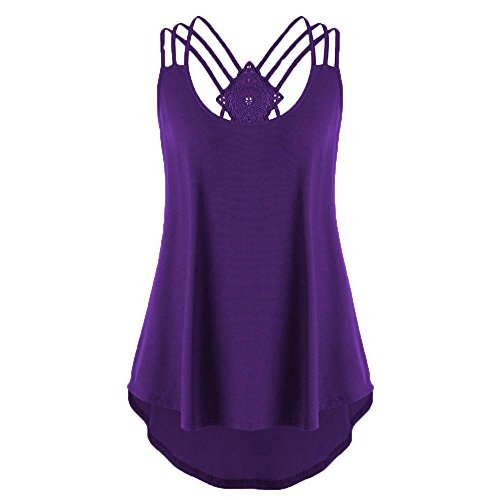 FEITONG Womens Back Bandages Sleeveless Vest Top High Low Tank Top Strappy Tank (Paisley Jersey Scoop Neck Dress)