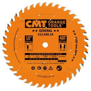 CMT 213.040.10 Industrial General Purpose Saw Blade, 10-Inch x 40 Teeth 20° ATB Grind with 5/8-Inch Bore, PTFE Coating by CMT