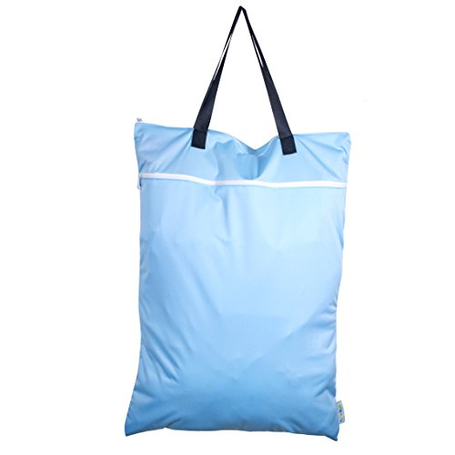 Price comparison product image Reusable Large Hanging Wet / Dry Cloth Diaper Pail Bag for Reusable Diapers or Laundry (Sky Blue)