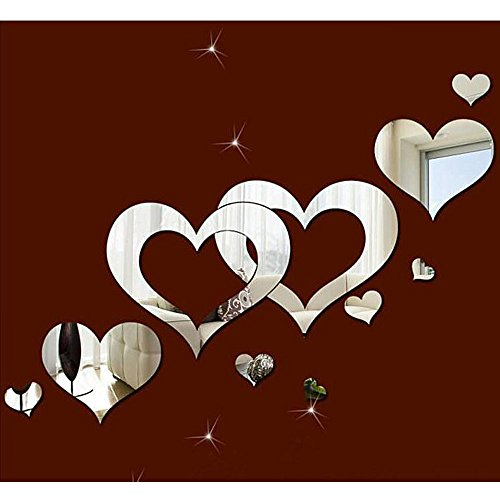 LAPOPNUT Multi-Pieces 3D Acrylic Heart-Shaped Mirror Wall Stickers Plastic Removable Multi-Pieces Heart DIY Art Decor Wall Poster Living Room Home Decoration, Multi-Size, Silver