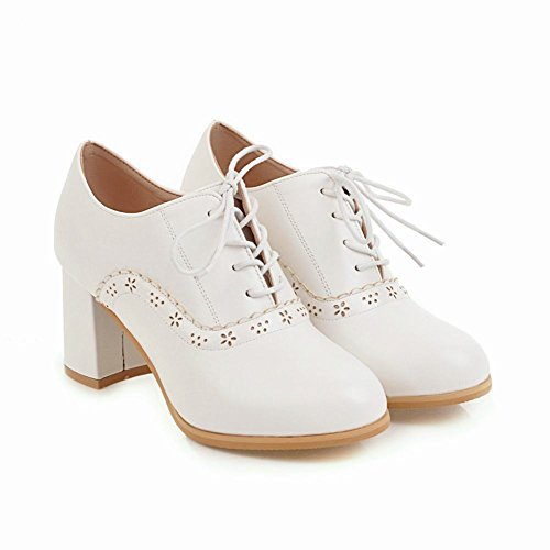 Charme Pied Femmes Confort Lacets Chunky Haut Talon Chaussures Oxford Blanc