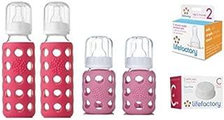 product image for Glass Baby Bottles for Newborn Girl - Pink Starter Kit
