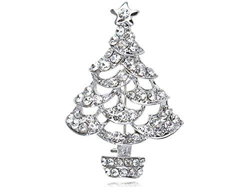 ALILANG Clear Crystal Rhinestone Silvery Tone Holiday Christmas Tree Sparkle Pin Brooch (Pin Art Christmas Tree)