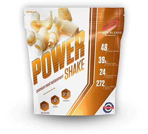 Meal Replacement Smoothie Powder, Power Shake, Vanilla 3.8 Lbs by Power Blendz