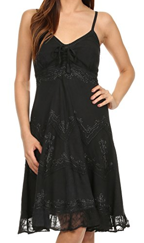 Sakkas 4031 Stonewashed Rayon Adjustable Spaghetti Straps Mid Length Dress - Black - L/XL