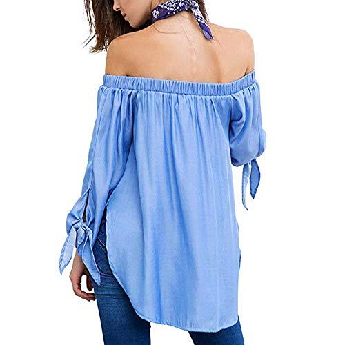 Épaule Femme T Ourlet Haut Beikoard Shirt Longues Top Femmes Chic Irrégulière Split Manches Off Casual Bleu Chemisier 5Yq7Pw