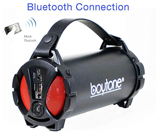 Boytone BT-38RD Portable Bluetooth Indoor/Outdoor Speaker 2.1 Hi-Fi Cylinder Loud Speaker with Built-in 2x3 Sub and SD Card